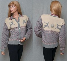 SOLD! on Ebay RALPH LAUREN WARM COZY REINDEER CARDIGAN SWEATER NORDIC SKI SNOW UGLY XMAS SZ M