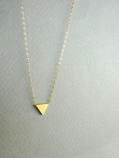 Triangle Necklace Gold Triangle Necklace Tiny Geometric Necklace by ShebasGems