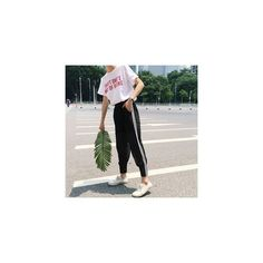 Striped Mesh Panel Cropped Pants ($15) ❤ liked on Polyvore featuring pants, capris, women, cropped trousers, white cropped trousers, white stripe pants, cropped capri pants and white striped pants