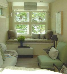 Frank Roop: Green gray living room + window seat + velvet upholstery, via Flickr.