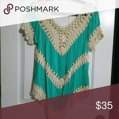 SUPER CUTE TOP! It is see through where its knitted. Teal & cream in color. Brand new from my own personal Boutique. Cleaning out making room for fall. Mia More Tops Tees - Short Sleeve