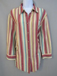 3c0f670fa5581 Ralph Lauren Top Plus Size 1X Linen Cotton Striped Button 3 4 Sleeve Shirt