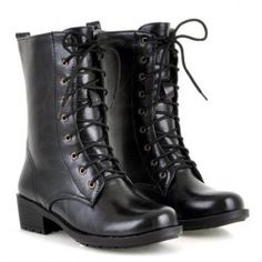 $14.45 Stylish Women's Pretty Combat Boots With Solid Color and Lace-Up Designl