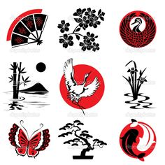Japanese Design Patterns   Japanese design elements   Stock Vector © Shmidt Valeriya #4492097