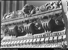 Hurley, Frank, 1885-1962. Roof cornice showing richness of carving, Temple Jupiter Baalbek [picture] : [Lebanon, World War II]