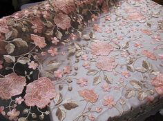 "Scalloped Edge Secret Garden Peach Flowers Embroidered Sheer Lace Mesh Background Mechanical Stretch Fabric 56"" Sold By the Yard"