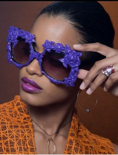 Dimension Magazine features Mercura NYC Original Big Baroque Purple Rose Sunglasses in cover story in motion by Yann Feron. With 11 more shots