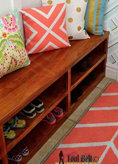 Keep your entryway neat and tidy with this DIY shoe shelf bench. It's perfect for a mudroom or hallway!