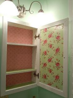 medicine cabinet redo, <3 Shabby Chic Cottage Pink Roses