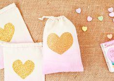 Dip Dye Heart Favor Bags