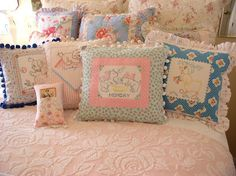 Repurposed Vintage Linens This is what I did with my mother's embroidery! Love it!