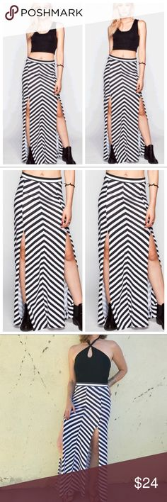 HURLEY chevron MAXI SKIRT white black SLITS sz S Super sexy double slit MAXI skirt by HURLEY. Full length, with revealing vents for legs while maintaining proper coverage. Cotton /spandex- lots of stretch. Marked as an XS, fits a small (my1) Hurley Skirts Maxi