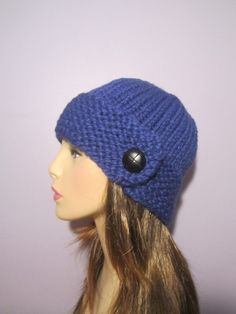 Blue or Pick Your Color Knit Hat with Genuine by UpNorthKnits