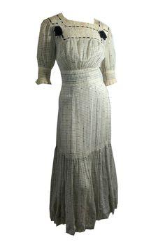 Feminine Lace and Velvet Ribbon Trimmed Edwardian Dress