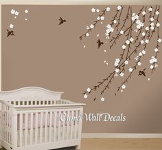 cherry blossom birds nursery wall decals tree vinyl wall by cuma, $47.00