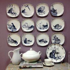 """Купить Новая коллекция тарелок """"Котята"""" , 12 штук - темно-синий, тарелка, Тарелка декоративная"""