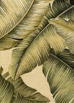 Taupe Upholstery. Big leafy cotton Hawaiian vintage upholstery style bark cloth fabric.