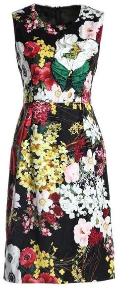 Flower-Applique Floral Printed Sleeveless Sheath Dress