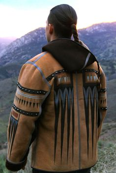 Men's Hand-Painted Italian Shearling Coat by Jamie Okuma (Luiseño/Shoshone Bannock). Native American artist. #nativeamerican