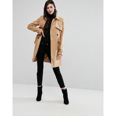 ASOS TALL Classic Trench Coat ($87) via Polyvore featuring outerwear, coats, waist belts, trench coats, tall trench coat, double faced coat and double breasted coat