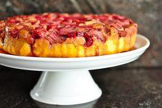 strawberry rhubarb upside down cake