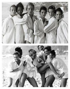 G's edit: Peter Lindbergh's famous White Shirts photographs from 1988 which was initially declined by then Vogue US editor Grace Mirabella only to be rediscovered eight months later by Anna Wintour who replaced Mirabella Linda Evangelista, Tatiana Patitz, Editorial Photography, Fashion Photography, Wardrobe Images, Fashion Magazin, Original Supermodels, Photo Portrait, Peter Lindbergh