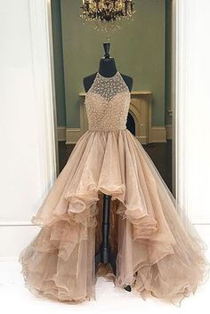 Champagne organza halter high low A-line long dress,foemal dresses for teens
