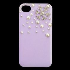 $7.65 Hard PC Protective Case For iphone 4s/4 With Rhinestone Pearl Coated Cover(Purple) Edealbest.com