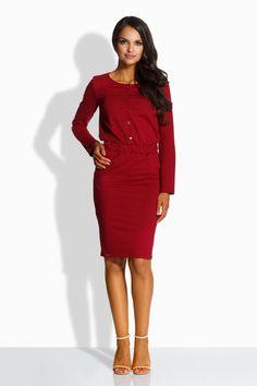 f7c133d6afd96 Robe moulante femme coton rouge crayon cintree poches avant LEMONIADE L224
