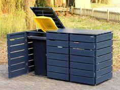 Mülltonnenbox Holz 240 Liter - All About Gardens Trash Can Storage Outdoor, Garbage Can Storage, Garbage Shed, Outdoor Trash Cans, Outside Storage, Recycling Storage, Garbage Recycling, Recycling Containers, Storage Bins