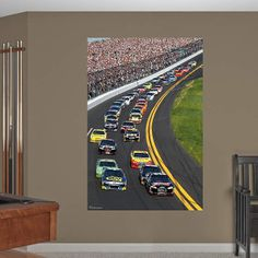 Daytona Intl Speedway NASCAR mural $100 I want to get him the racecar bed and put this behind it so it kind of looks like he is in first place...I wonder if it would like like I am thinking it would.