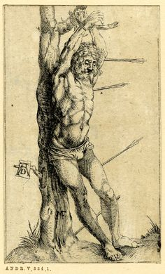 Nicolas Christoph Matthes (1729 - 1796) reverse copy after Dürer - St Sebastian tied to a tree, the arrows not piercing his body. (Meder 62).