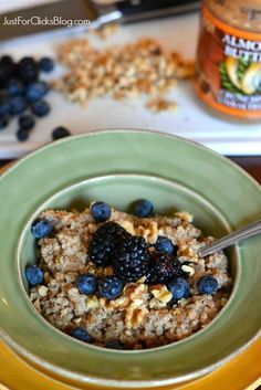 Phase 3 Quinoa Breakfast Bake with coconut milk, berries and walnuts -- so good for Phase 3 breakfast.