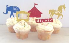 Glitter Circus Birthday Party Cupcake Topper by EllaJaneCrafts