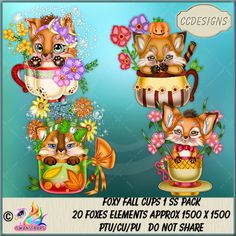 Foxy Fall Cups 1 SS Pack (TS/CU/S4H) [CCD] : Scrap and Tubes Store, Digital Scrapbooking Supplies Scrapbook Supplies, Creative Design, Digital Scrapbooking, Craft Projects, Packing, Ss, Fall, Autumn, Store