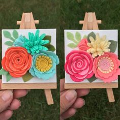 I was able to make two more mini canvases today too! Felt Crafts Diy, Foam Crafts, Felt Diy, Craft Gifts, Paper Crafts, Felt Flowers, Diy Flowers, Fabric Flowers, Paper Flowers