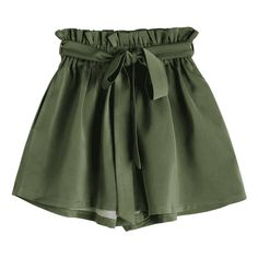 Smocked Belted High Waisted Shorts Army Green ($9.99) ❤ liked on Polyvore featuring shorts, bottoms, belted shorts, high-waisted shorts, highwaist shorts, high rise shorts and olive shorts