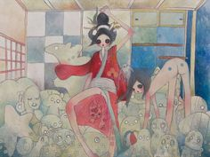 "AYA TAKANO ""Stuffed Animal Room"" 2006 Acrylic on canvas / Acrylique sur toile x Feet / 194 x cm Aya Takano, Modern Art, Contemporary Art, Animal Room, Manga Artist, Japanese Artists, Animal Party, Pretty Art, Cool Artwork"
