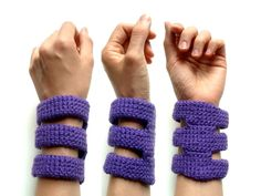 Purple three rib cage cuff spring fashion crocheted by dslookkin
