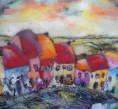 Felt picture. Fabulous landscape of the village of colorful houses.Characteristic of this artwork is extraordinary warmth and texture. Picture made from felt using the wet felting method. For details lve added free machine stitching. The felt goes right around the sides of the frame. Ready to hang. Colors may vary slightly due to monitor settings. Size: 39cm×43cm. (15.35in×16.92in) My soul in my artworks to make you happy