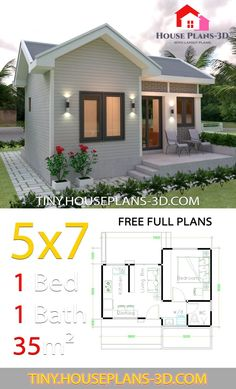 Small House Design Plans 57 with One Bedroom Gable Roof Tiny House Plans Tiny House Ideas Bedroom Design Gable House Plans Roof Small Tiny One Bedroom House Plans, Guest House Plans, Small House Plans, House Floor Plans, Tiny Home Floor Plans, Tiny House Cabin, Tiny House Living, Tiny House Design, Modern House Design