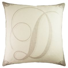 Lend a personalized touch of style to your sofa, arm chair, or window seat with this lovely handmade cotton pillow, showcasing a bold monogram motif. Made in...