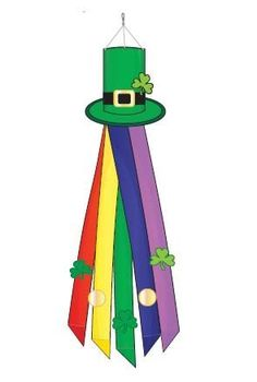 """St. Pat's Leprechaun Hat Windsock Wind Sock by Two Group. $24.99. Appliqued design. 12"""" X 60"""". Includes snap swivel for hanging. All weather polyester. The Leprechaun Hat Windsock features a green leprechaun's hat with a clover in it! The streamers below the hat are done in rainbow colors with clovers and gold coins! Too cute, this windsock is perfect to celebrate St. Patrick's Day! Wind Socks, Leprechaun Hats, Clovers, Child Care, Gold Coins, Applique Designs, Streamers, Seasonal Decor, Rainbow Colors"""