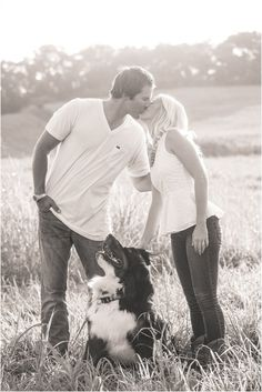 Farm engagement photos with their dog. Click to view more photos!