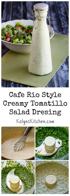 "Cafe Rio Style Creamy Tomatillo Salad Dressing - ""I love, love, love this, I've been making it for years. This dressing really does taste just like the one you get at Cafe Rio"" KalynsKitchen Low Carb Sauces, Low Carb Recipes, Cooking Recipes, Healthy Recipes, Salad Recipes, Free Recipes, Healthy Food, Cafe Rio, Dressing Recipe"