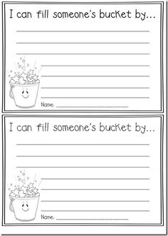 Here is just one of the many teacher-created sheets to use in your class for students to complete as they fill each others' buckets. (Use this book and sheet: Have You Filled a Bucket Today? Free Activity during the school year to encourage community in your classroom.)