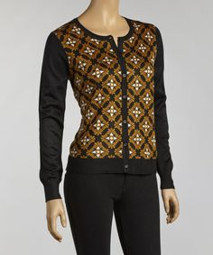 Take a look at this Black & Mustard Compass Cardigan by YAL on #zulily today! $40 !!
