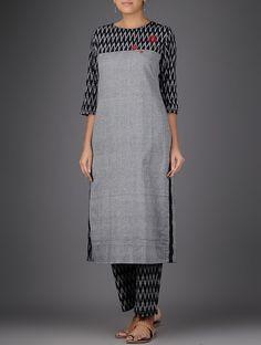 Buy Grey Black Ikat Hand embroidered Handloom Cotton Kurta Women Kurtas Notes on contemporary apparel Online at Jaypore.com