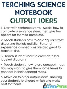 Science Interactive Notebook Output Ideas-- read more about how to teach your student to reflect on their learning in the manner they choose. #INB