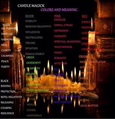 Candle Colors And Meanings Candle Spells, Candle Magic, Wiccan Spells, Witchcraft, Eclectic Witch, Color Meanings, Color Magic, Book Of Shadows, Healing